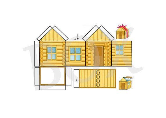 Gabarit boite chalet maison cut out pour cadeau drag es bonbons etc imprimer idee home - Gabarit maison en carton ...