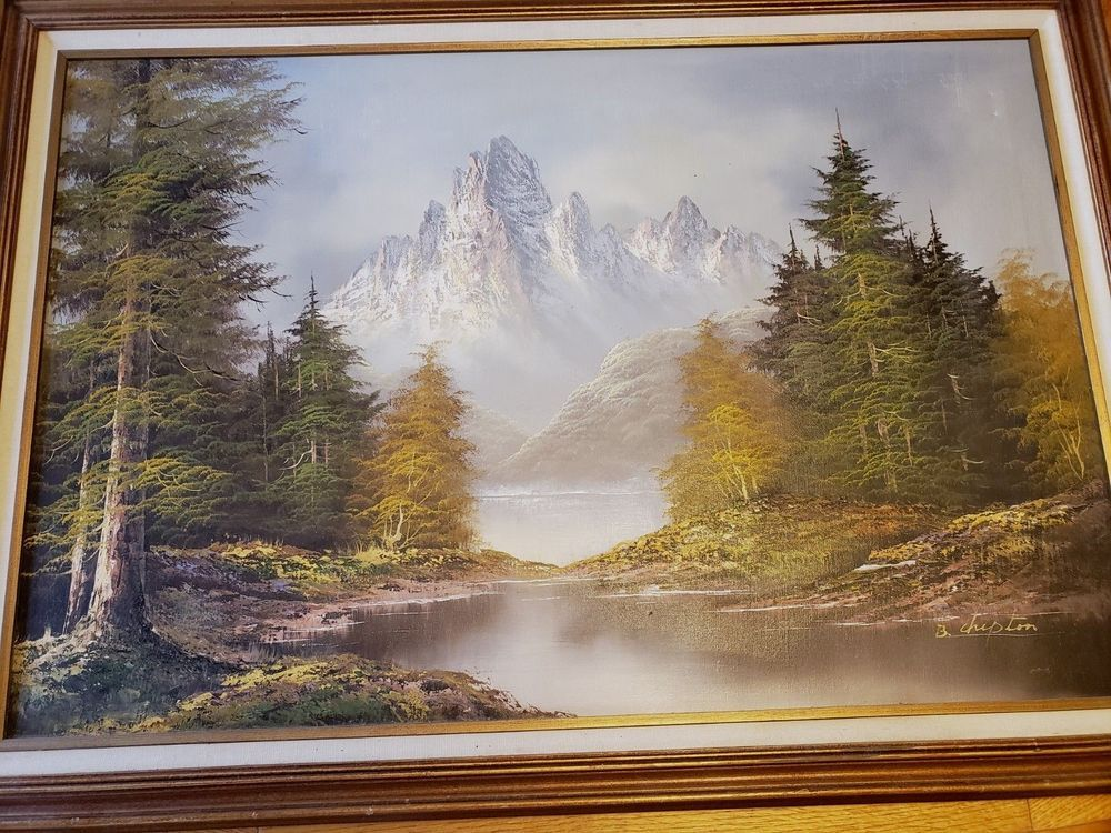 Vtg Original Oil Painting On Canvas Framed Landscape Mountain Signed B Chipton Oil Painting Landscape Oil Painting On Canvas Original Oil Painting
