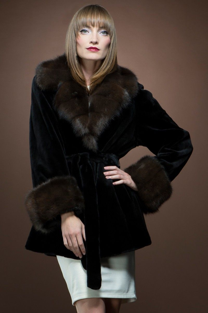 Black Sheared Mink and Sable Fur Jacket | Fur21 | Pinterest | Fur ...