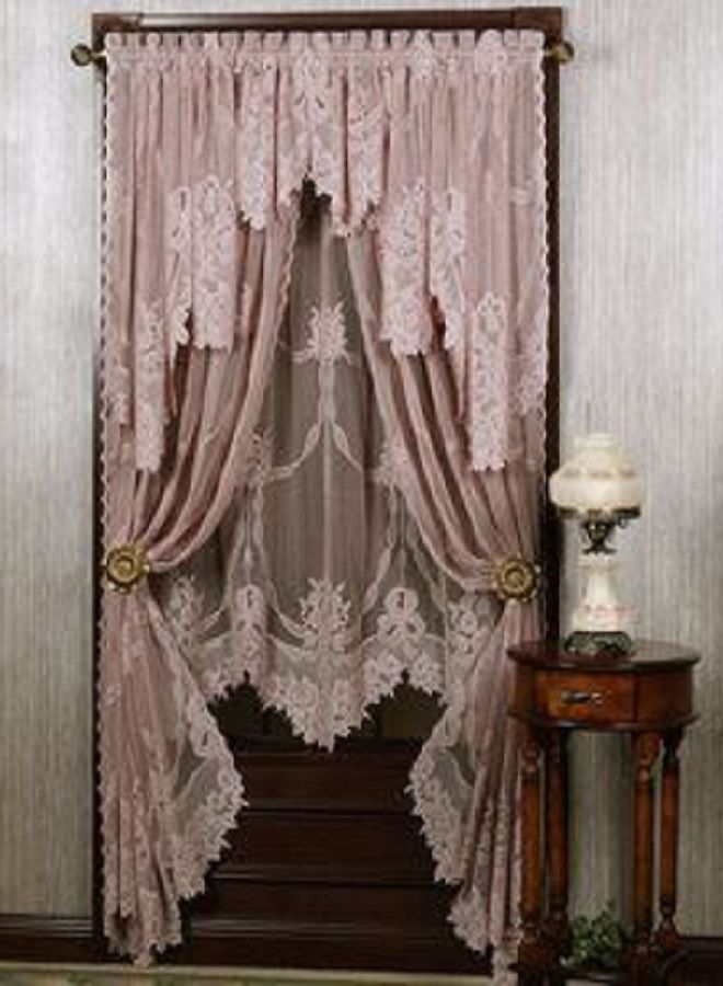 Pink Lace Curtains Layered With Lighter Blush Or Cream