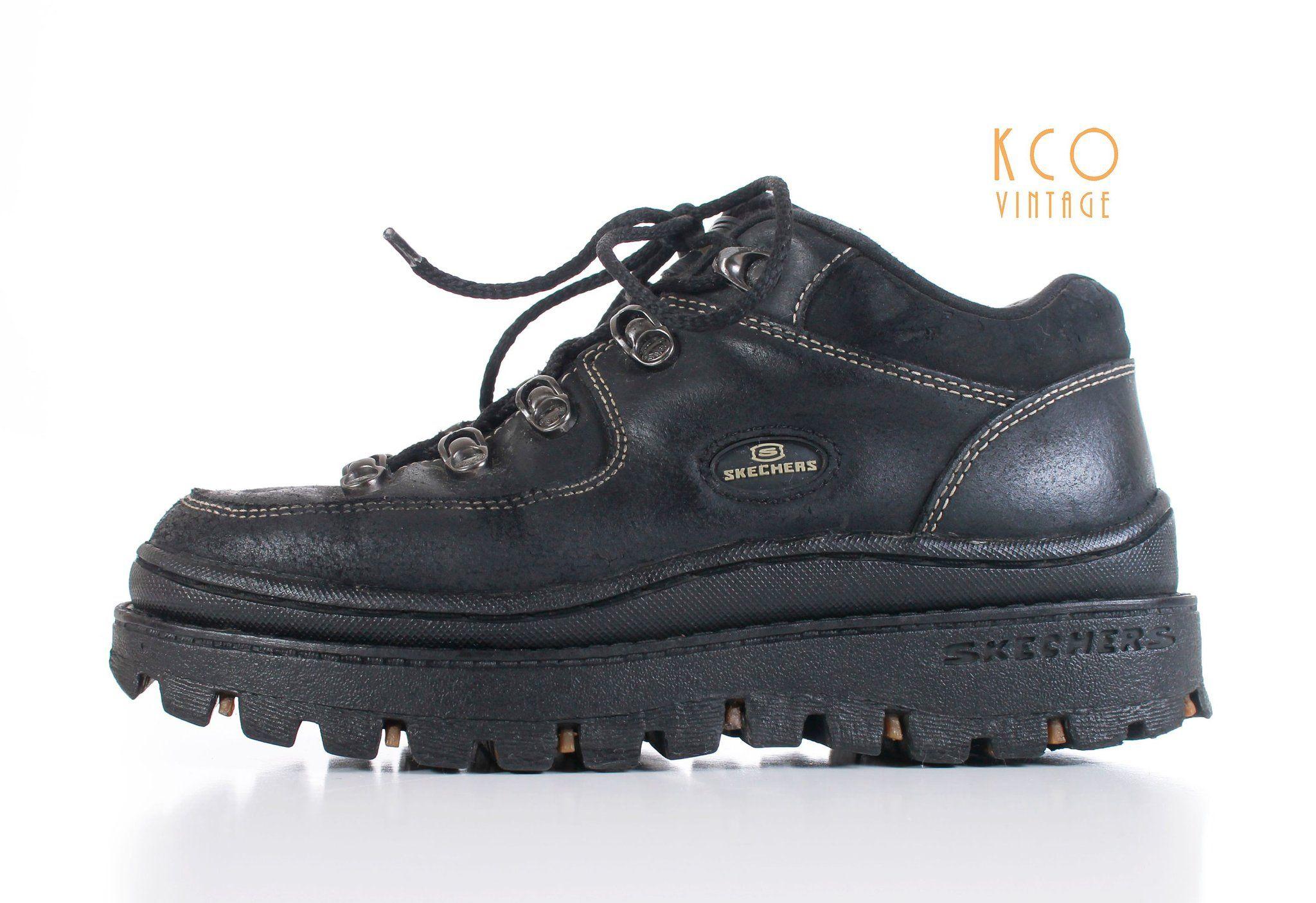 Platform Skechers Jammers Black Leather Lace Up Lug Sole 90 S