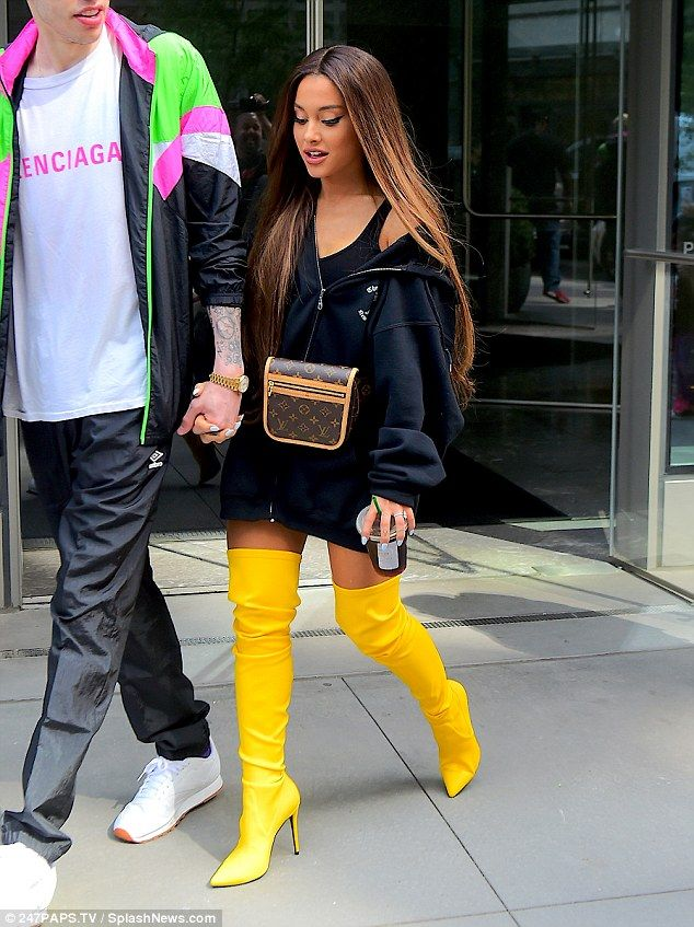 Ariana Grande stuns in canary yellow thigh-high boots while stepping out with fiance Pete Davidson | Daily Mail Online