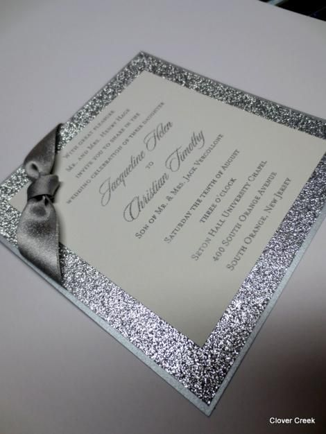 Wedding Invitations Silver Sparkle Shimmer Glitter    Everything But The Bow