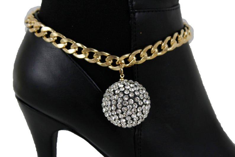 Women Silver Metal Chain Boot Bracelet Shoe Ethnic Flower Charm Bling Jewelry