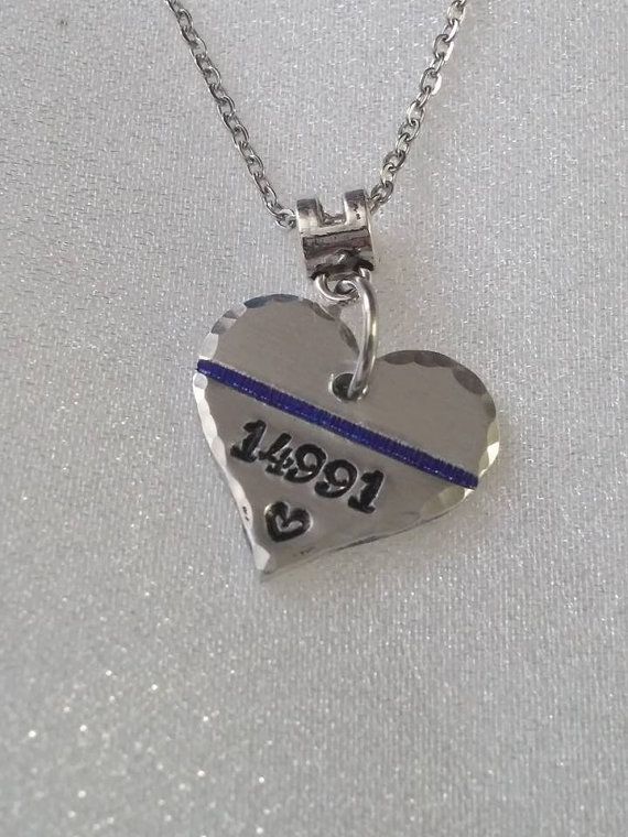 il products necklace police blue large officer wife line jewelry thin stamped handmade hand gift of