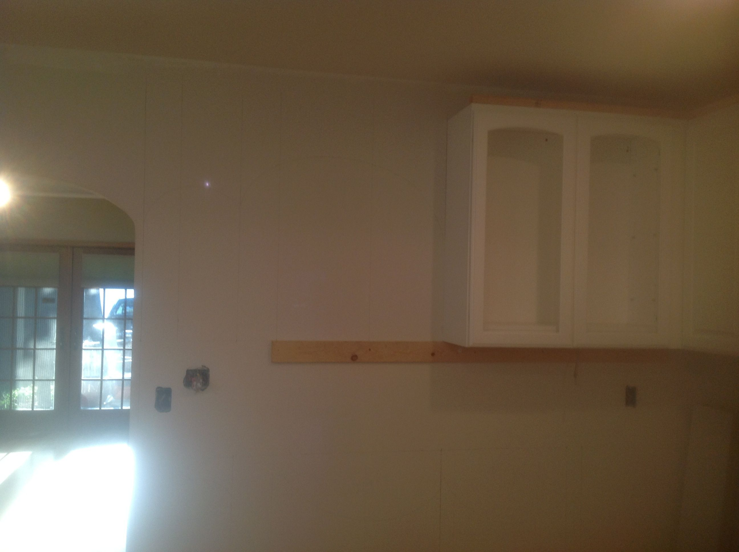 Last Two Upper Cabinets Go Here Can T Get Back To That Until Wednesday Then It S On To The Base Cabinets I Boug Upper Cabinets Kitchen Remodel Base Cabinets