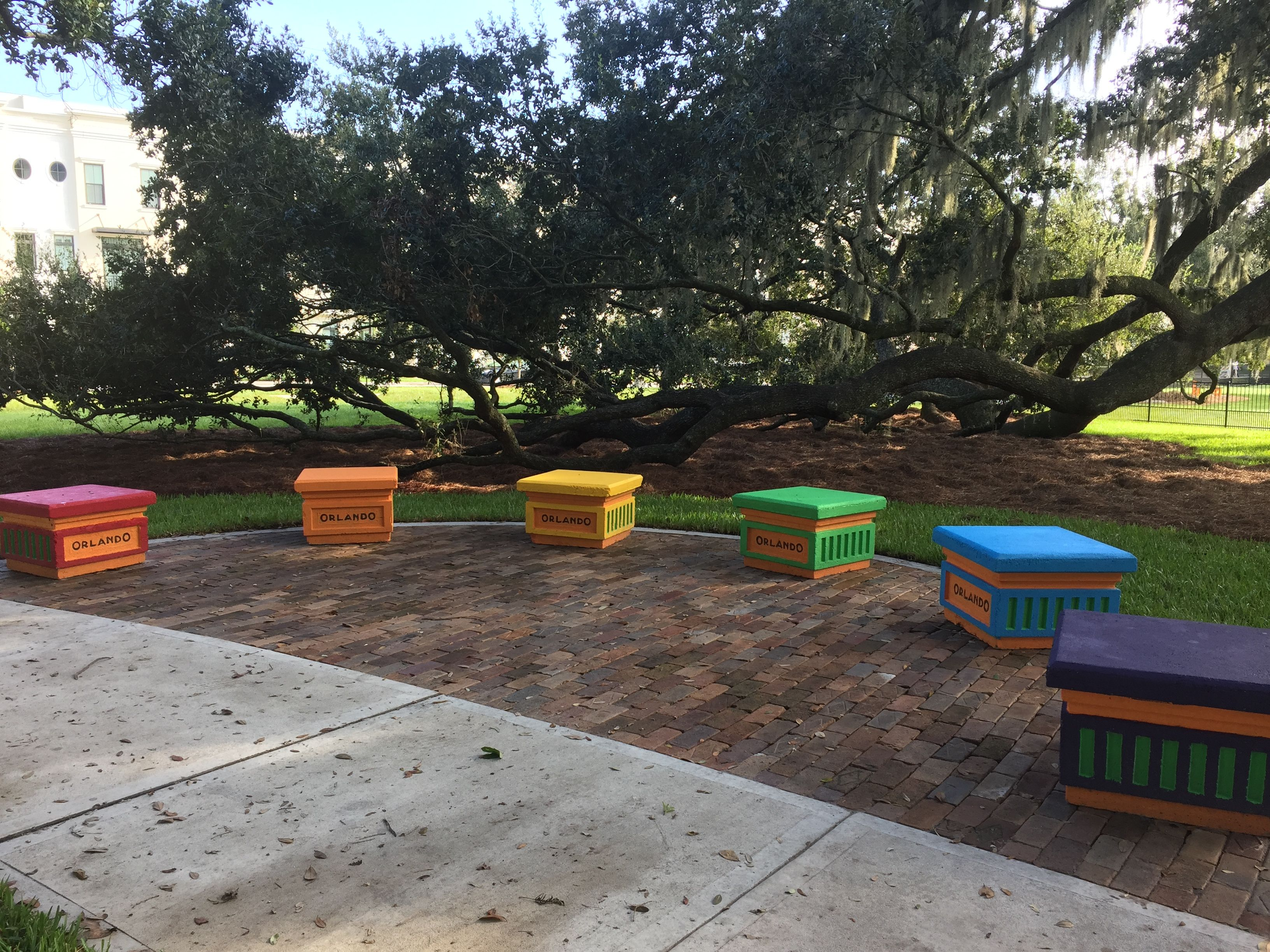 Rainbow colored Orlando benches at Constitution Green Park downtown