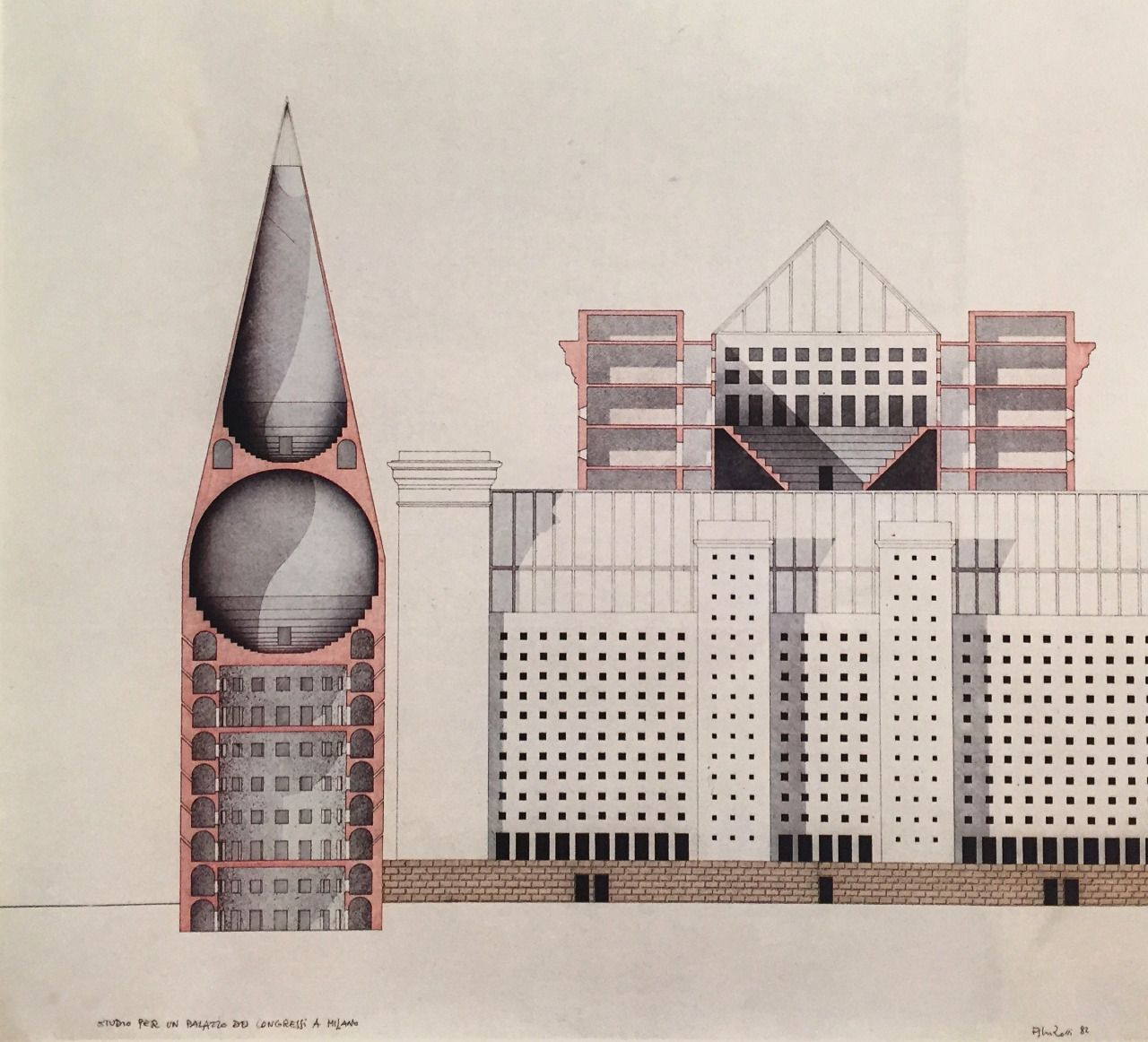 Design for a congress hall in milan aldo rossi 1984 for Drawing hall design