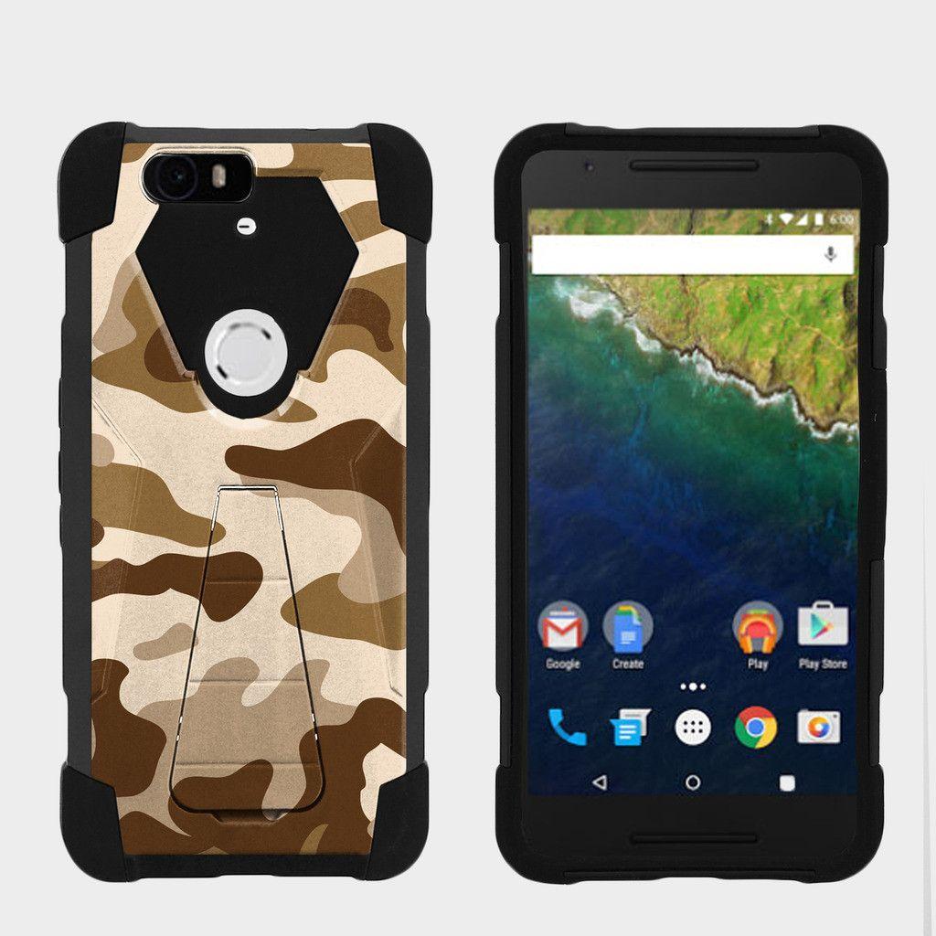 Huawei Nexus 6P Case SHOCK FUSION Silicone Heavy Duty Hard Kickstand - Army Camo