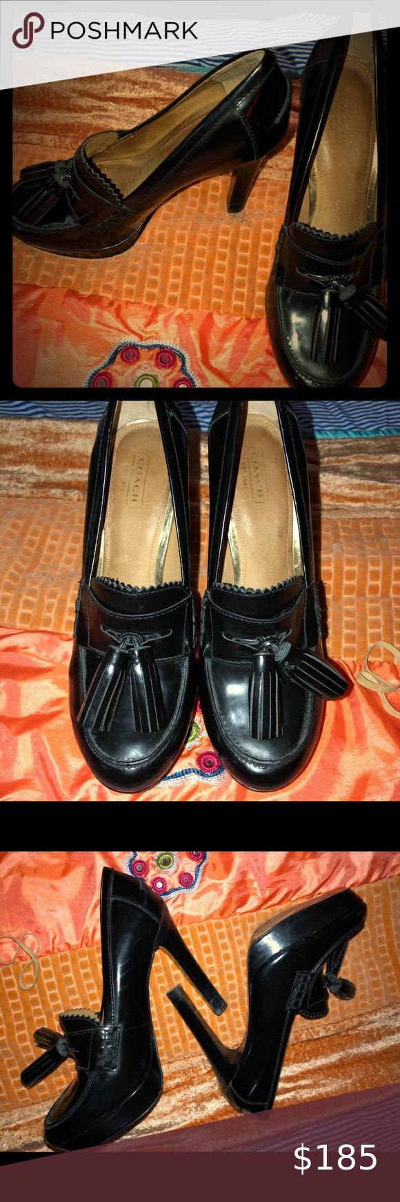 Sz 8 Black Coach Tassels Pumps In 2020 Tassel Pumps Shoes Women Heels Pumps