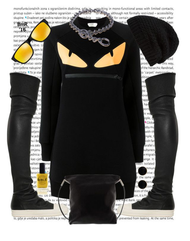 """Monster!"" by barbmama ❤ liked on Polyvore featuring Oris, Lauren B. Beauty, Fendi, Rick Owens and Oakley"