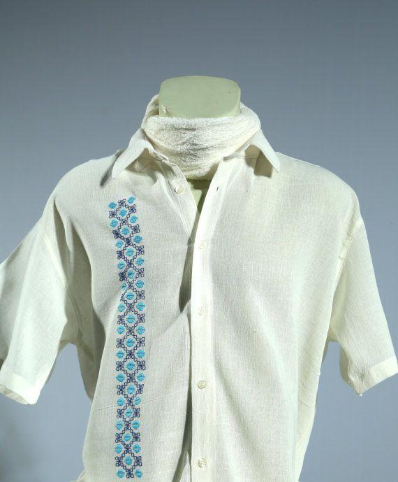 Cotton/Linen Chikan Hand Embroidered Men's Shirt