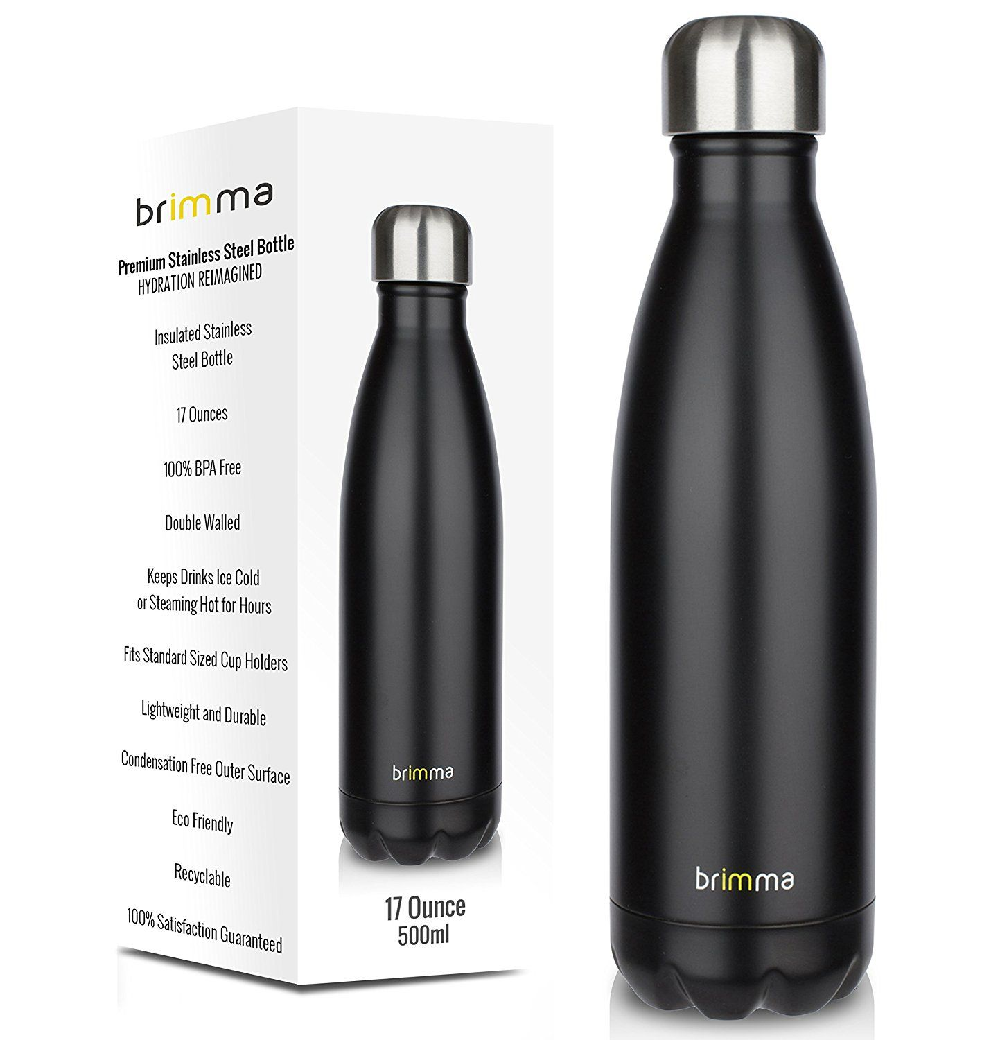 Hot /& Cold Stainless Steel Water Bottle Double Walled Vacuum Insulated Drinkcup