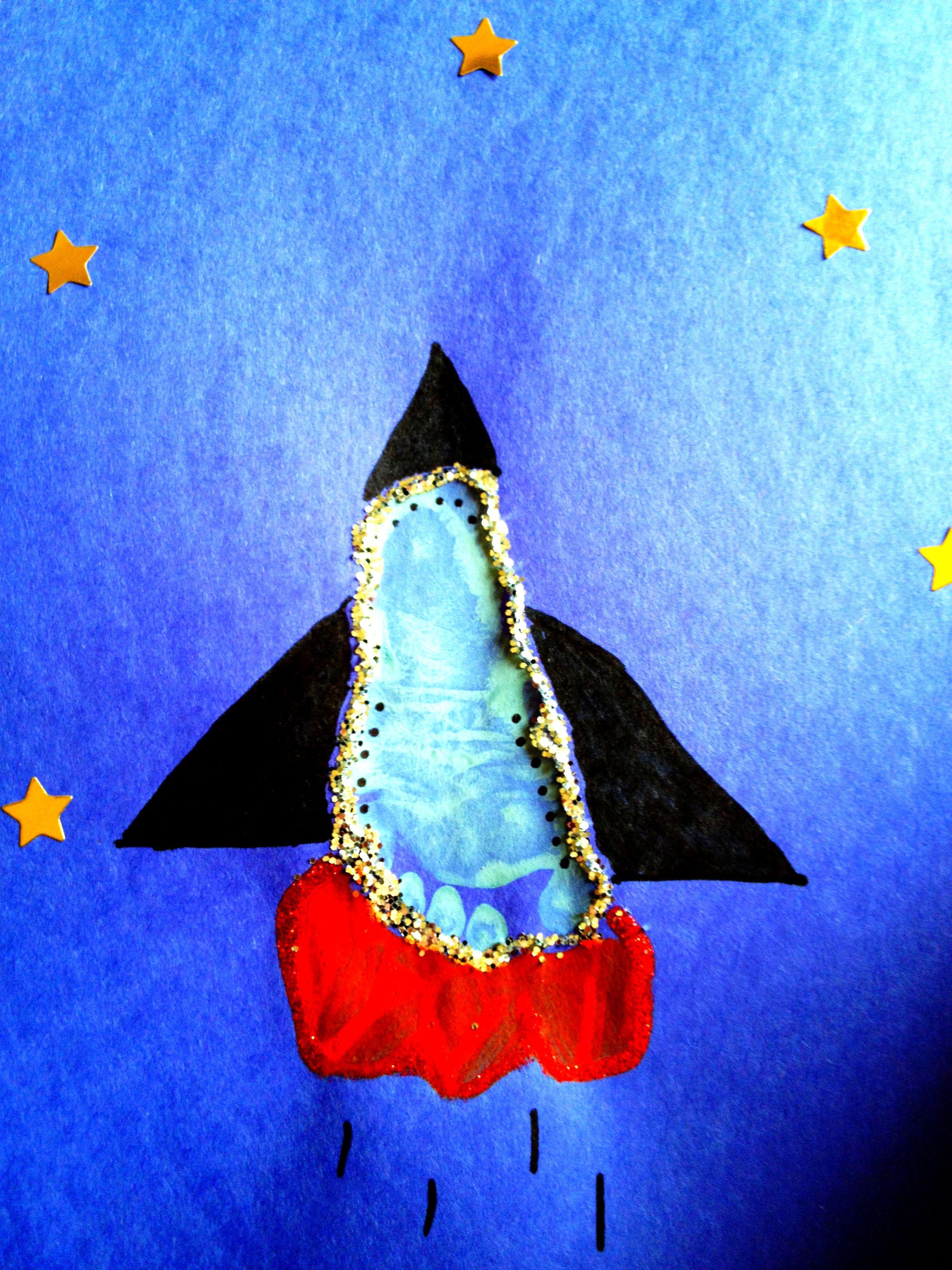 Footprint Rocket Ship Baby Art Project Kid Crafts And Activities