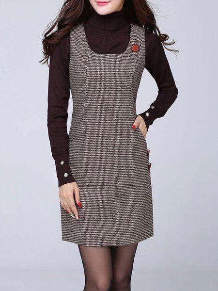 68a0dc3d70ab Shop Dresses - Coffee Polyester Casual Plus Size Dress online. Discover  unique designers fashion at PopJuLia.com.
