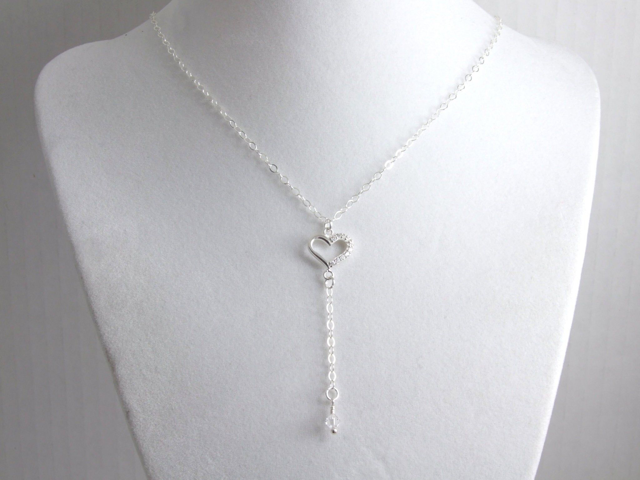 15mm x 22mm Jewel Tie 925 Sterling Silver Heart White//Blue//Black Crystal /& Resin Love Knot Pendant