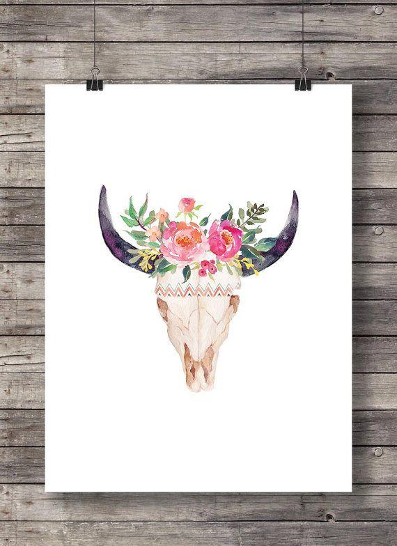Cráneo de impresión, acuarela de flores, para imprimir, Toro vaca ...