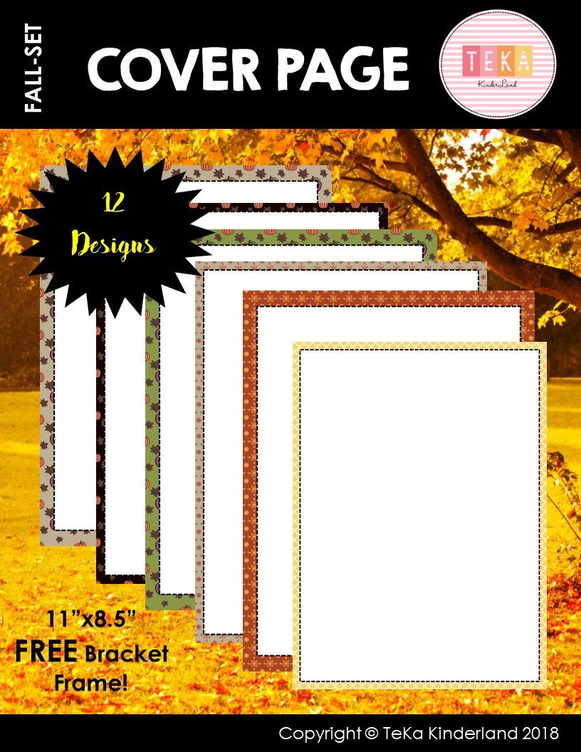 FREE Fall Cover Pages {by TeKa Kinderland} | COVER PAGES | Pinterest