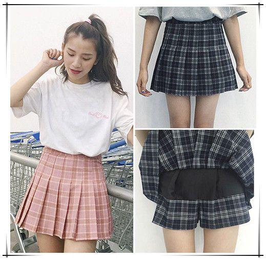 5707c025354 Girl School Tennis High Waist Skater Flared Pleated Short Mini Plaid Skirt