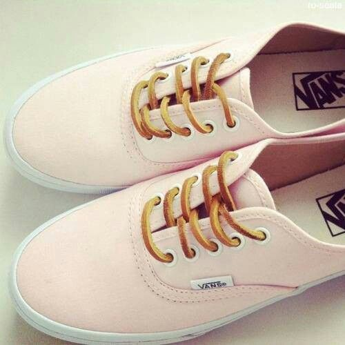 2f0a7b7790 Light pink vans So cute     love the laces
