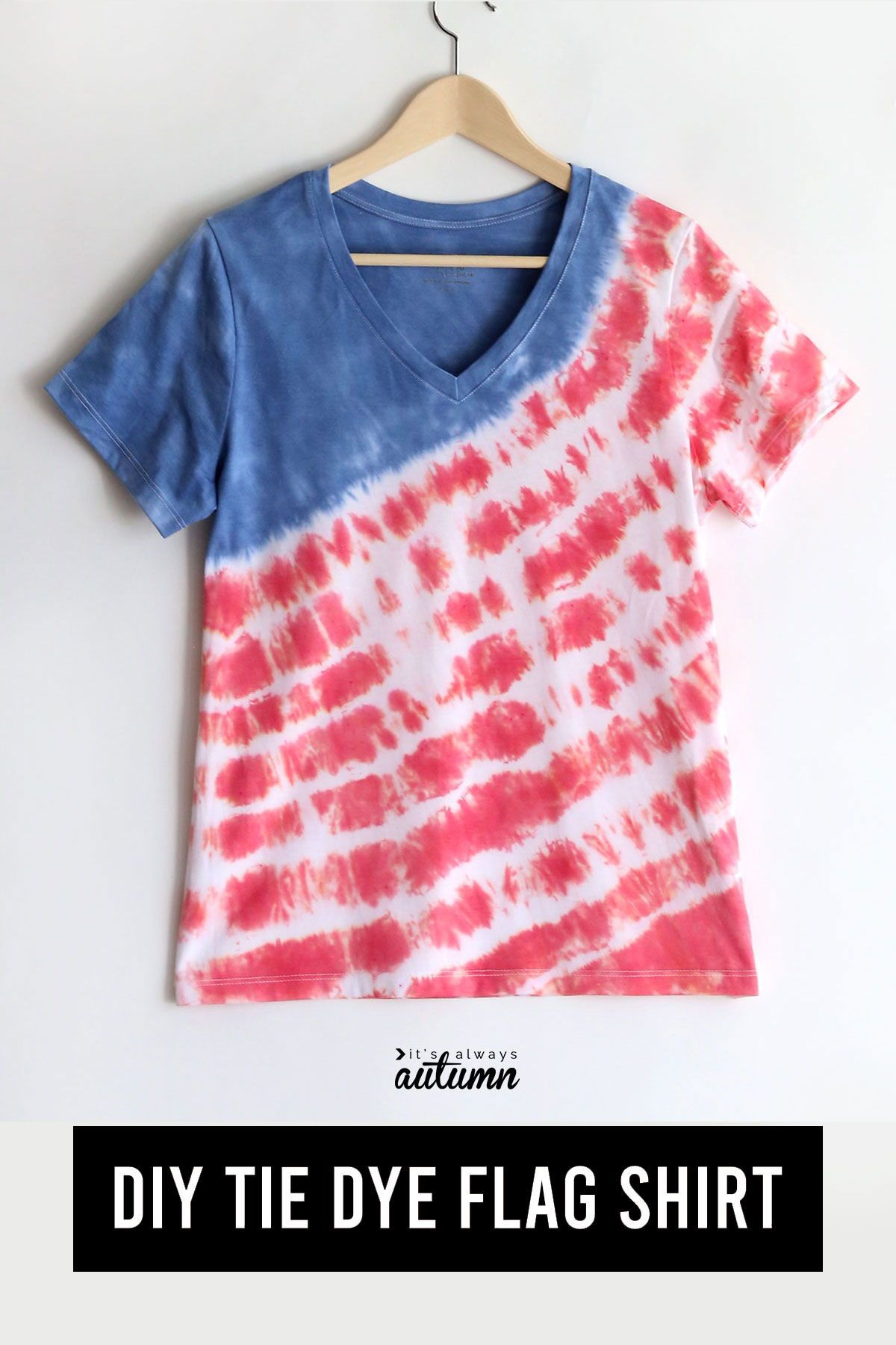 Diy Red White And Blue Tie Dye Shirt For The Fourth Of July It S Always Autumn In 2020 Tie Dye Blue Tie Dye Shirt Diy Tie Dye Flag Shirt