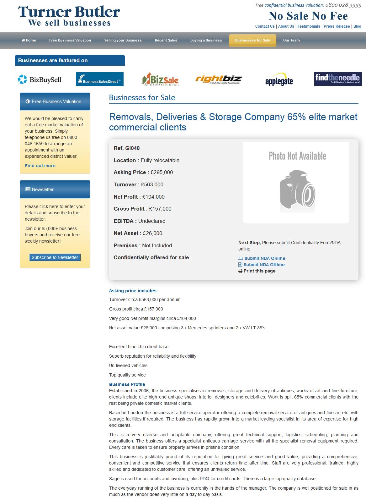 Businesses For Sale Removals Deliveries Storage Company 65 Elite Market Commercial Clients Ref