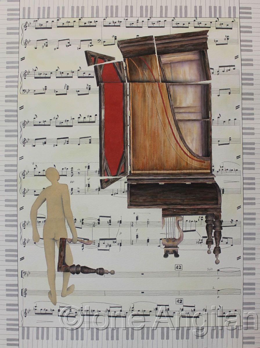 Upright Grand Piano Painting, Original paintings