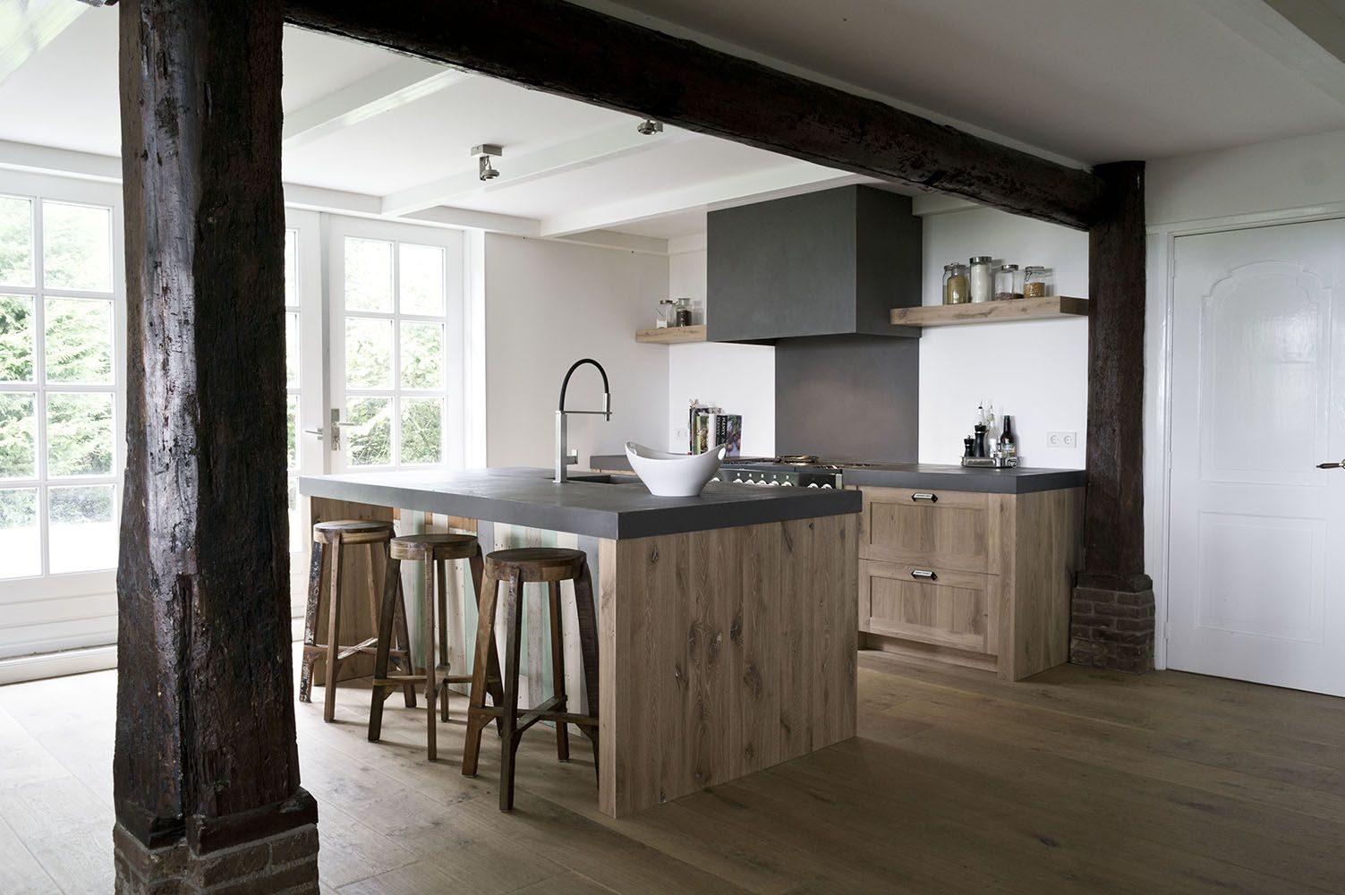 rustic modern kitchen natural wood cabinets and dark countertops sijmen interieur new homes on kitchen cabinets natural wood id=40192