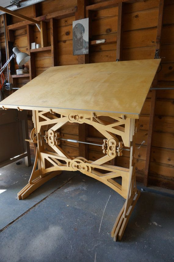 Stunning Mechanized Wooden Drafting Table By Seanheadrick On Etsy Vintage Drafting Table Wood Drafting Table Woodworking Inspiration