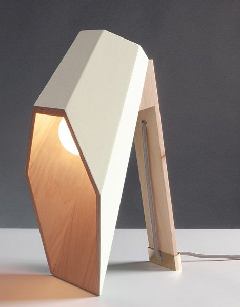 Lamp Designed With A Hexagonal Wooden Shade That Extends Over Its Light Bulb Like A Hood Wooden Table Lamps Creative Lamps Lamp Design