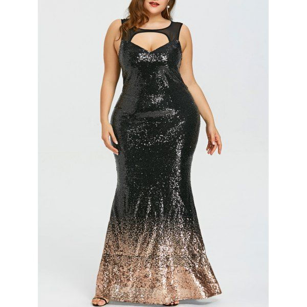 Plus Size Open Back Sparkly Prom Dress Sparkly Prom Dresses