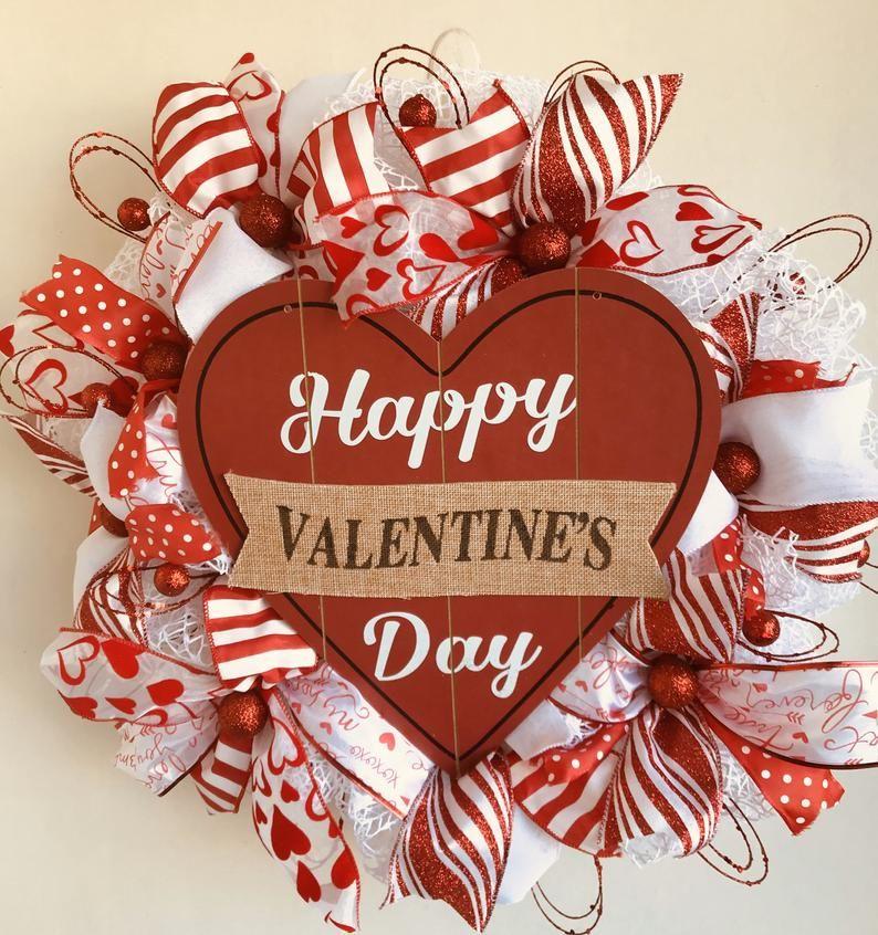 Lacey Valentines Day Wreath Etsy Valentines Day Decorations Valentine Day Wreaths Valentines