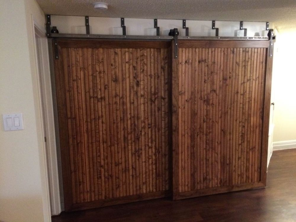 Double track by pass system barn door hardware kit w 8 ft for Dual track barn door hardware