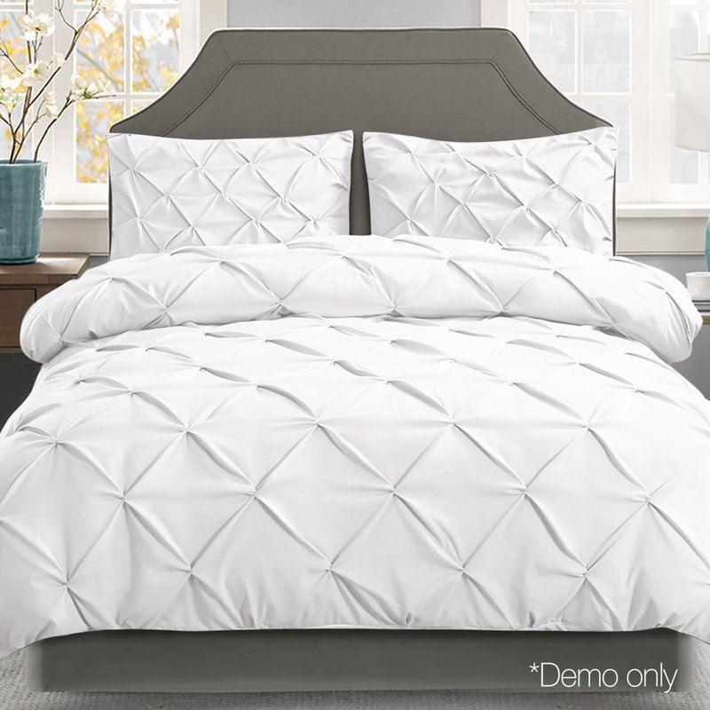 Giselle Bedding Pinch Pleat Diamond Bed Duvet Doona Quilt Cover Set King White White Quilt Cover King Size Quilt Covers Quilt Cover