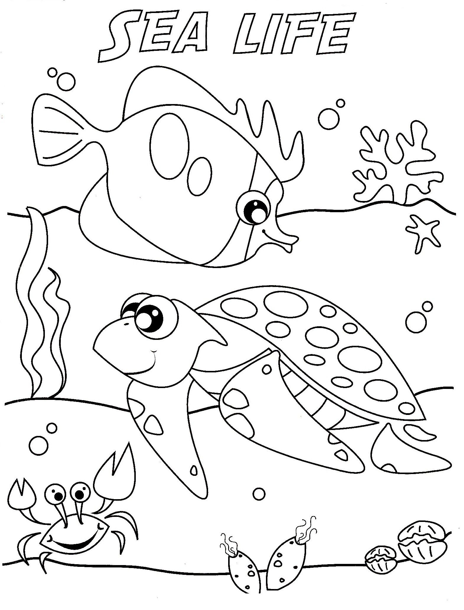 Ocean life coloring pages to download