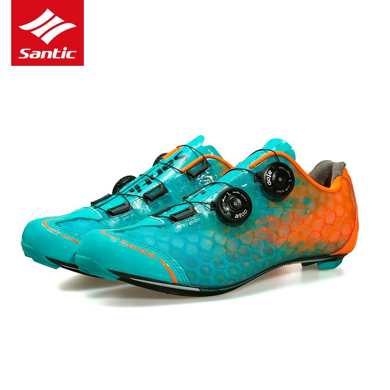 Santic Cycling Shoes Road Men Breathable Self Locking Bicycle Shoes Carbon Fiber Ultralight Pro Bike Shoes Sapatilha Road Cycling Shoes Cycling Shoes Sneakers