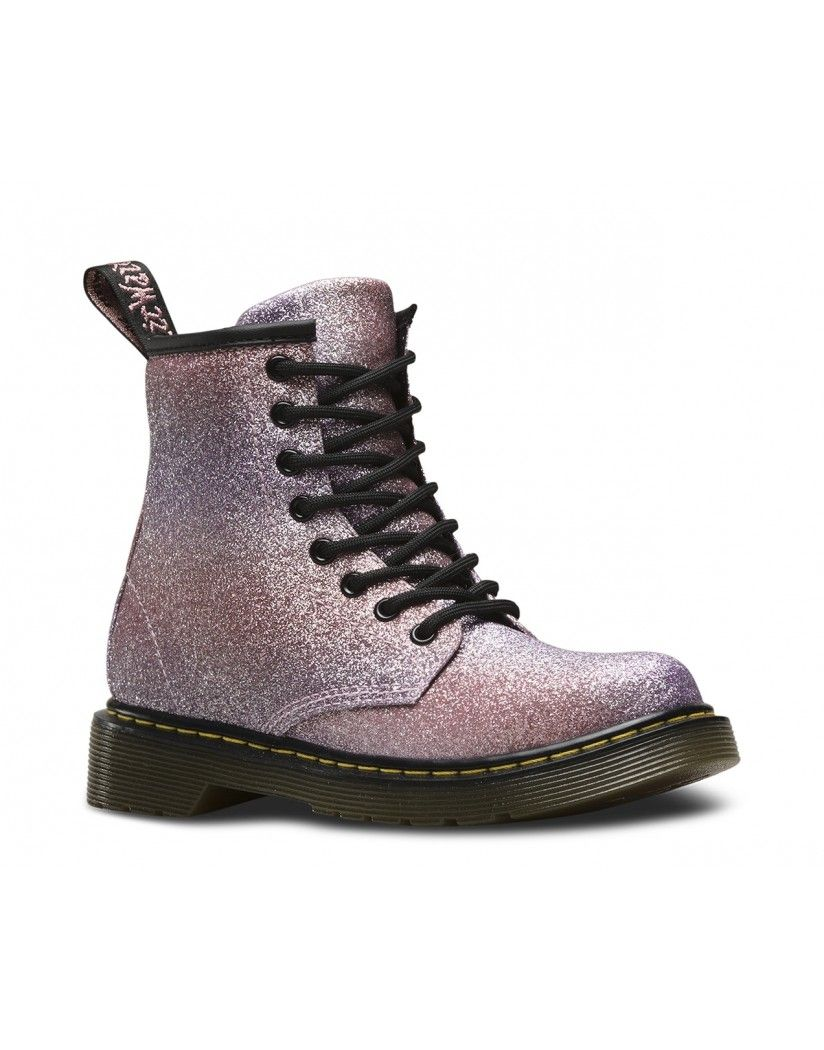3ea2bbee6b3a Girls' sparkly Dr Martens, The Delaney Glitter Boots is a fun kids' style  which features the rough and ready exterior of a classic doc but with the  light ...