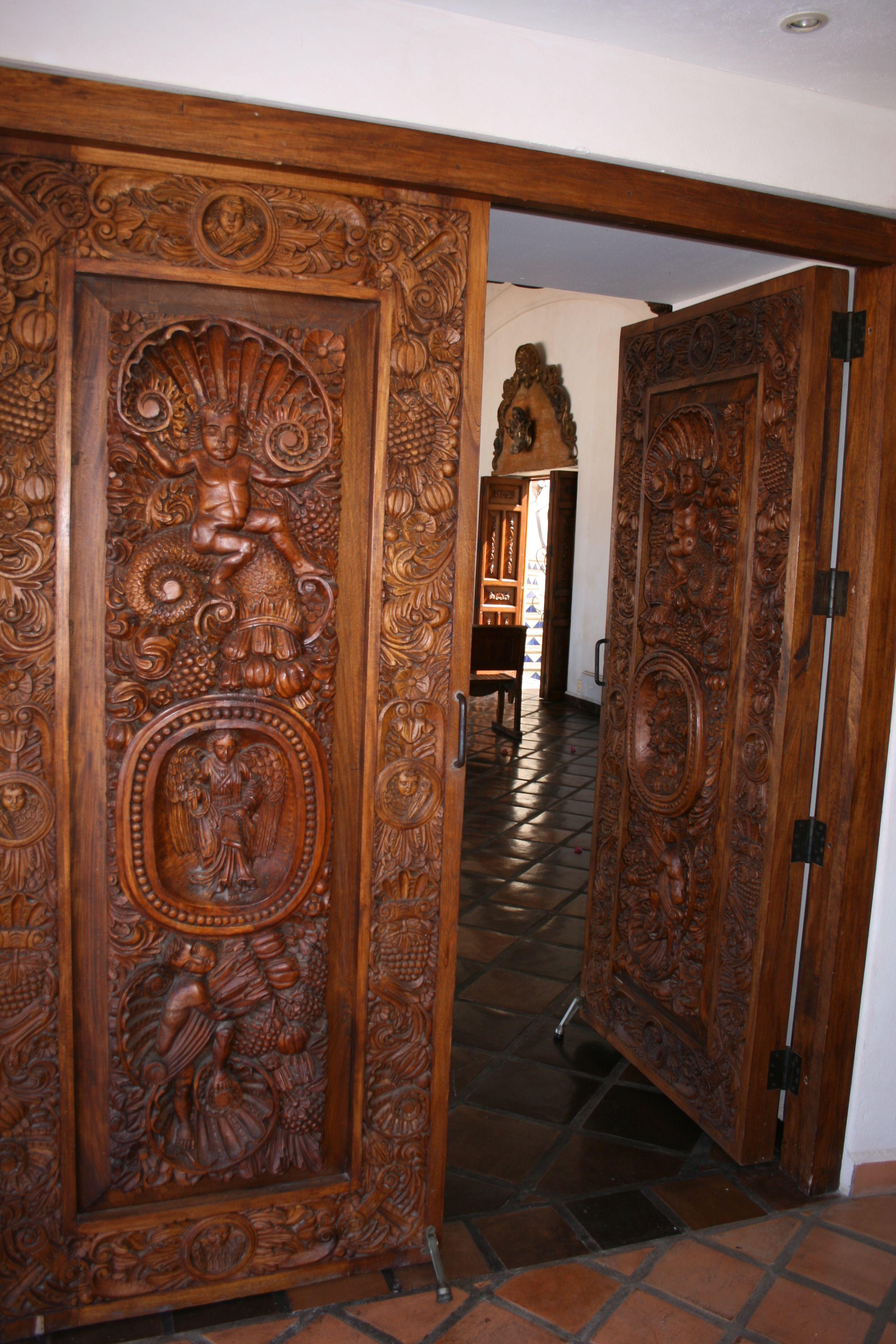 Ornamental carved wooden front door sweets doors hacienda