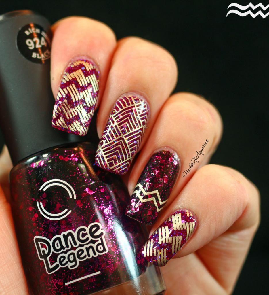 Geometric Glitz Nail Art Dance Legend Rich Black #924