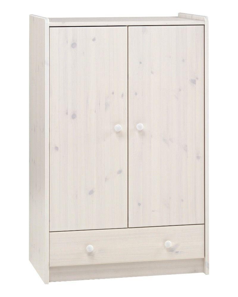 Best Steens For Kids 2 Door 1 Drawer Low Wardrobe In Whitewash 400 x 300