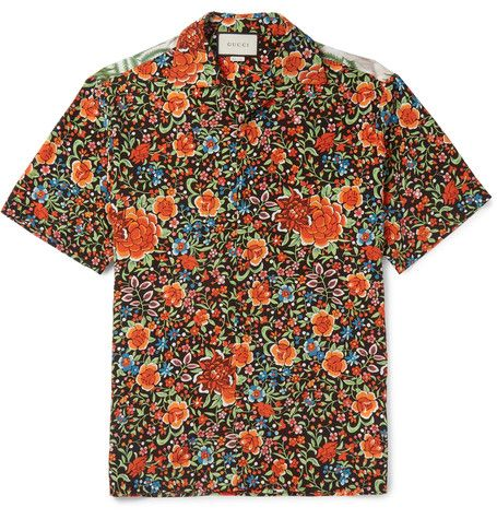 efb74fa7c02 GUCCI Camp-Collar Printed Silk Shirt.  gucci  cloth  casual shirts ...
