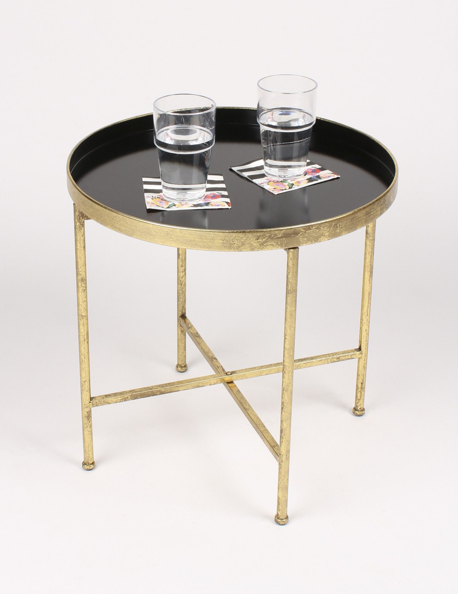 Features:  Crafted Of Metallic Leaf And Painted Metal For Lasting  Durability With Glossy Finish.  Decorative Metal End Table With Accent  Color Tray Surface ...