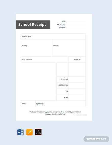 School Receipt Template Free Pdf Word Excel Apple Pages Google Docs Google Sheets Receipt Template Templates Word Doc
