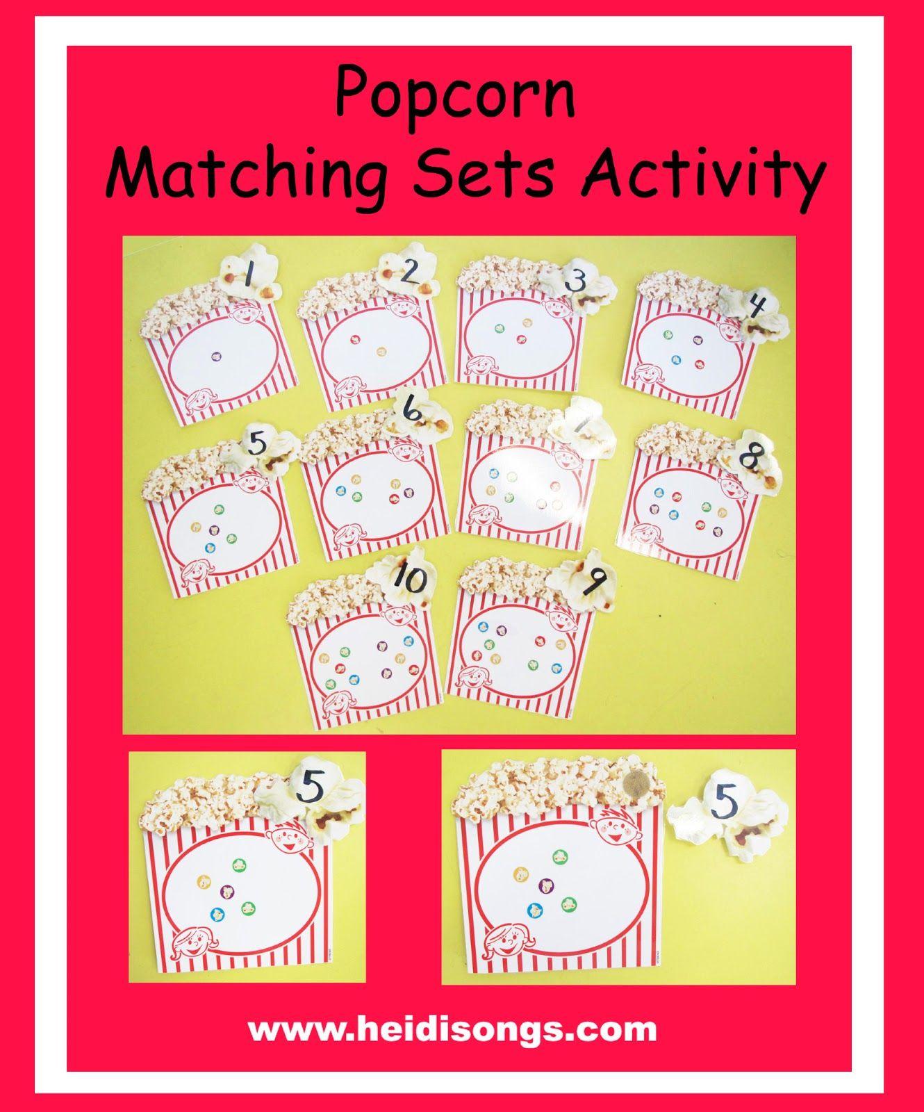 Popcorn Matching Sets Activity