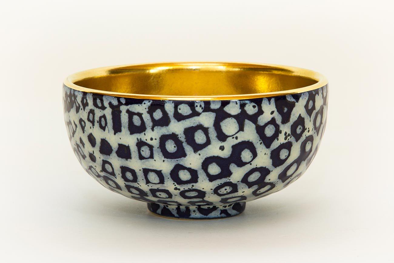 Teeschale, Steinzeug, Gold
