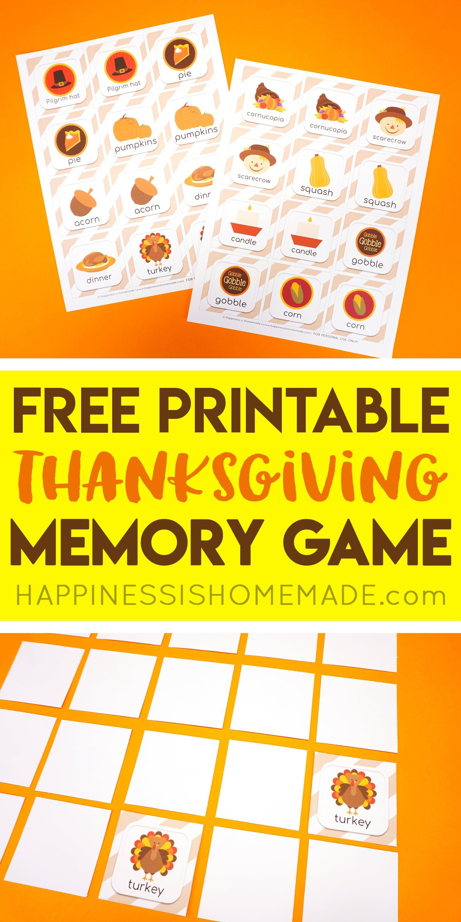 Free Thanksgiving Memory Match Game Cards Use these