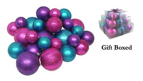 $39.99-$59.99 Pack of 27 Shatterproof Fuschia, Purple & Turquoise Christmas Ball Ornaments - Deluxe Fuschia, Purple & Turquoise Color Theme Shatterproof Christmas Ornament Set Item #18173 27-Piece Set Shatterproof ornaments combine the beauty and luster of real glass with the unbreakable practicality of plastic This amazing pack of fancy ornaments is done in dazzling fuschia pink, purple and tur ...
