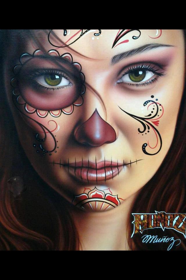 Beautiful sugar skull make up... Holy crap this is