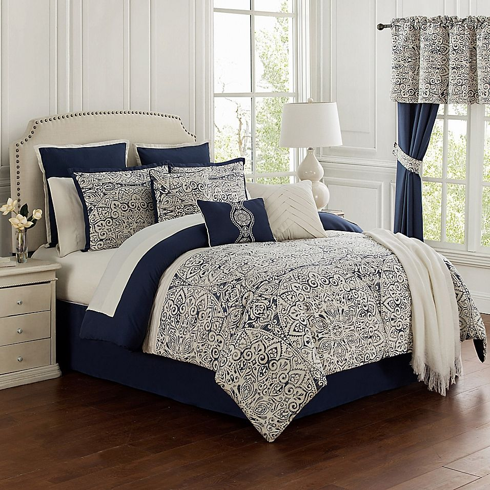 Miramar 14Piece California King Comforter Set in Navy