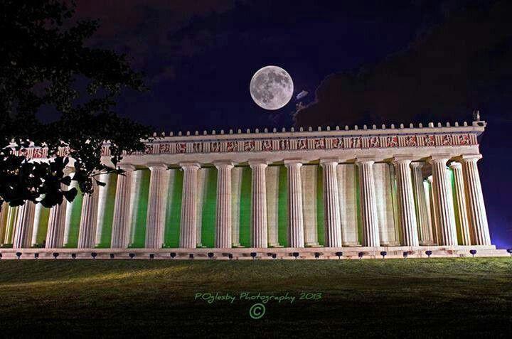 Super moon over Parthenon in Nashville, Tennessee